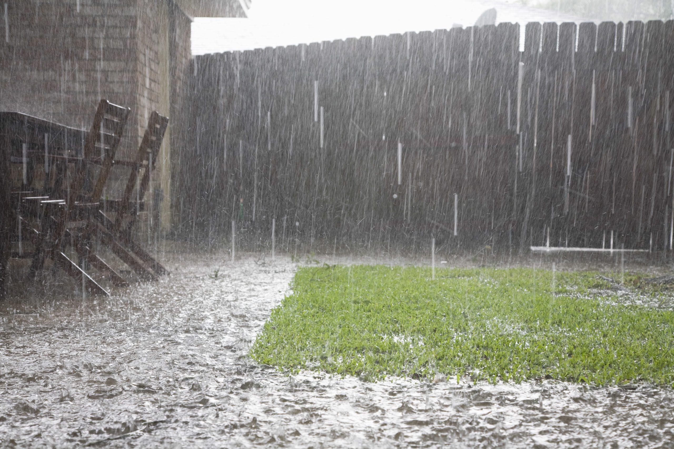flooding backyard after storm