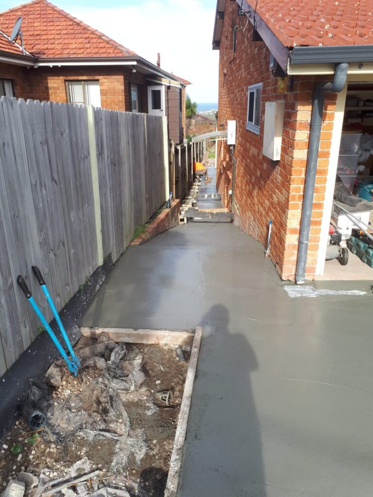 New paved side path with drainage