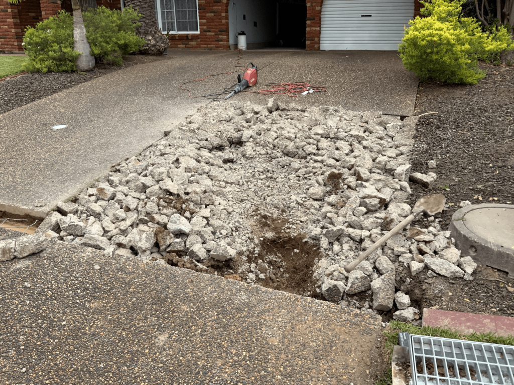 Removing section of driveway